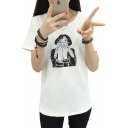 Women's Fashion Cat Girl Cartoon Pattern Short Sleeves Casual Tee