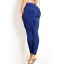 Sportive Double Pockets High Waist Slim-Fit Plain Workout Pants