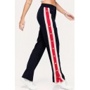 Stylish Button Detail Elastic Waist Button Fly Color Block Joggers