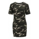 Pop Fashion Camouflaged Pattern Round Neck Short Sleeves Mini Bodycon T-shirt Dress