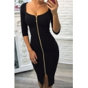 Simple Stylish Plain Zippered Scoop Neck Notched Hem Bodycon Midi Dress