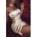 Party Style Sequined Cutout Hollow Side Plain Bodycon Mini Bandeau Dress
