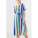 Colorful Striped Print V-Neck Short Sleeve Tie Waist Split Side Dress