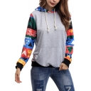 Hot Fashion Print Long Sleeve Leisure Hoodie with Pocket