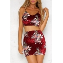 New Stylish Floral Print Cropped Cami Mini Skirt Co-ords