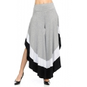 Chic Color Block High Waist High Low Hem Wide Leg Casual Pants