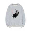 Fancy Cartoon Moon Pattern Round Neck Long Sleeves Pullover Sweatshirt