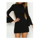 New Stylish Turtleneck Tie Long Sleeve Split Cuff Simple Plain Dress