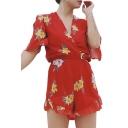 Popular Floral Pattern V-Neck Wrap Front Half Sleeves Ruffle Hem Shorts Romper