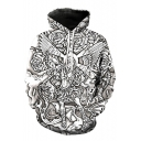 Oversize Character Pattern Long Sleeve Sports Hoodie with Pockets
