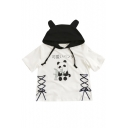 Lovely Cartoon Panda Printed Lace-Up Embellished Side Color Block Hooded Tee