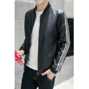 Stylish Striped Side Zippered Stand-Up Collar Long Sleeve Leather Baseball Jacket