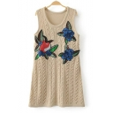 Retro V-Neck Sleeveless Floral Apple Embroidered Double Knitted Sweater Tank Mini Dress