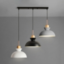 Industrial Modern 3 Light Multi Light Pendant with Dome Metal Shade, 20''W