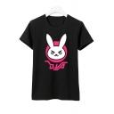 New Stylish Cartoon Rabbit Print Short Sleeve Round Neck Tee