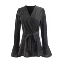 Elegant Wrap Front Bow Tie Belted Bell Sleeves Sequined Pop Blouse