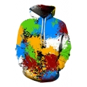 Stylish 3D Color Block Print Long Sleeve Pocket Hoodie for Couple