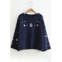 Leisure Planet Snowflake Embroidered Round Neck Batwing Sleeves Pullover Sweater