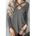 Stylish Cutout Hollow Lace-up V-Neck Long Sleeves Plain Autumn Tee