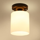 Industrial Vintage 6''W Flushmount Ceiling Light with Cylinder Glass Shade in White