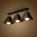 Industrial 3 Light Flushmount Ceiling Light with Metal Shade in Black Finish
