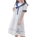 Marine Style Navy Collar Bear Sweetheart Pattern Color Block Swing Midi Dress