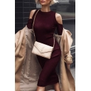 Stylish Plain Cold Shoulder Long Sleeve Knitted Dress