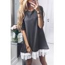 Pop Fashion Round Neck Layered Ruffle Hem Color Block Mini Sweatshirt Dress