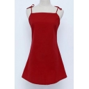 Fashionable Bow Tie Spaghetti Straps Simple Plain Cami Mini Dress