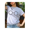 Fancy Eyeglasses Glasses Lightning Printed Round Neck Short Sleeves Casual Tee