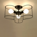 Industrial 16''W Flush Mount Ceiling Light with Metal Cage in Nordical Style, Black/White