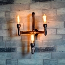 Industrial 3 Light Multi Light Wall Sconce in Bar Style, 14.6''W, Rust