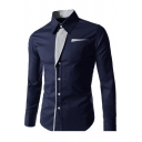 Hot Fashion Color Block Print Lapel Long Sleeve Single Breasted Shirt