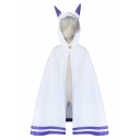 Simple Striped Pattern Single Button Monster Ears Hooded Casual Loose Cape