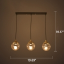 Industrial 20''W Multi Light Pendant with Amber Glass Shade, 3 Light