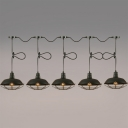 Industrial 5 Light Multi Light Pendant with Metal Cage in Barn Style, Black