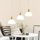 Industrial Modern 3 Light Multi Light Pendant with Bowl Glass Shade in White Finish