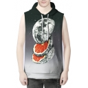 Unique Planet Earth Orange Slice Galaxy Printed Sleeveless Pullover Unisex Hoodie