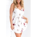Summer Style Spaghetti Straps Bow Belted Floral Pattern Mini Loose Cami Dress