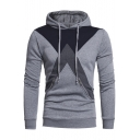 Stylish Cross Color Block Long Sleeves Pullover Men's Hoodie with Zipped-Pockets