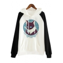 Chic Color Block Cat Cartoon Printed Long Sleeves Pullover Hoodie with Pocket