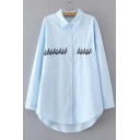 Funny Tree Embroidered Long Sleeve Lapel Single Breasted Dip Hem Tunic Shirt