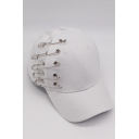 Popular Safety Pin Embellished Grommet Detail Baseball Cap Hat