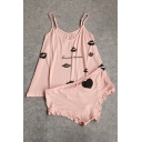 Hot Fashion Letter Lip Print Cami Shorts Pajamas Co-ords