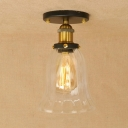 Industrial Vintage 6.5''W Flushmount Ceiling Light with Bell Glass Shade in Black/Brass Finish