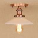 Industrial Flushmount Ceiling Light with 8.5''W Cone Glass Shade in Vintage Style