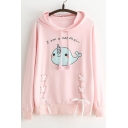 Cute Cartoon Letter Print Tie Front Long Sleeve Loose Hoodie