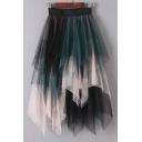 Hot Fashion Color Block Layered Tiered Gauze Patchwork Midi Skirt