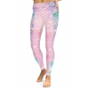 Fancy Diamond Mermaid Fish Scale Pattern Slim-Fit Elastic Waist Leggings
