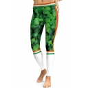 Stylish Clover Printed Color Block Slim-Fit Elastic Waist Leggings